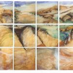 """From the Summit Road"" In the collection of Christchurch Art Gallery, Te Puna O Waiwhetu  Acrylic, oil, and conte on wood 36 pieces, each 300mm x 300mm  3840 x 1500mm"